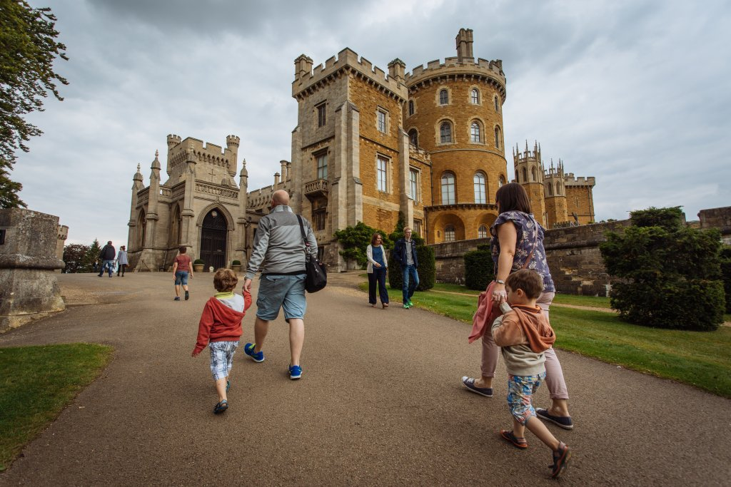 Visitors walk up to the hill Belvoir Castle