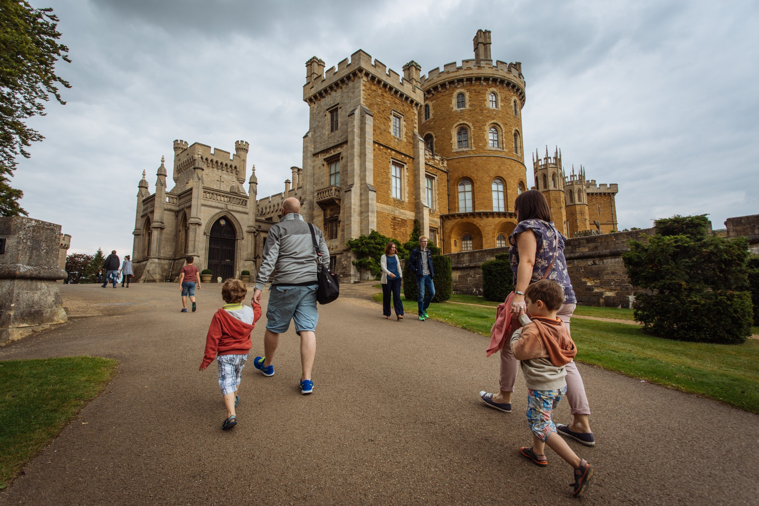 Visitors walk up to the hill Belvoir Castle