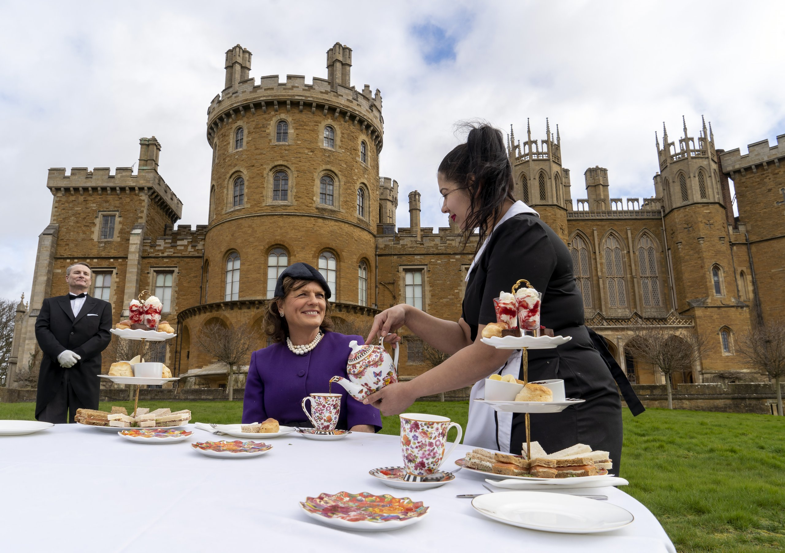 Duchess of Rutland enjoys afternoon tea on the front lawn at Belvoir Castle